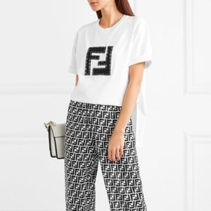 Embellished lamé and stretch-cotton jersey T-shirt